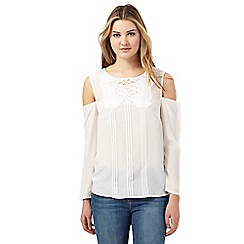 Preen/EDITION - Ivory silk front cut-out cold shoulder top