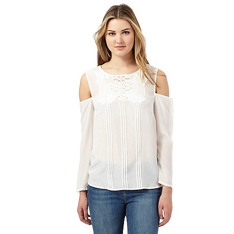 preen-edition - Ivory silk front cut-out cold shoulder top