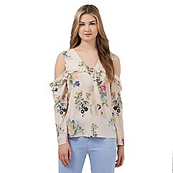 Preen/EDITION - Nude floral cold shoulder top