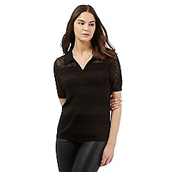 Preen/EDITION - Black textured stripe polo shirt