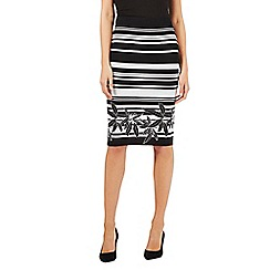 Preen/EDITION - Black striped palm knit pencil skirt