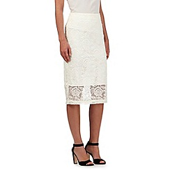 Preen/EDITION - Ivory mesh embroidered skirt