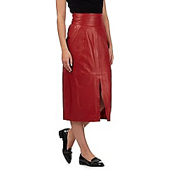 Preen/EDITION - Red leather midi skirt