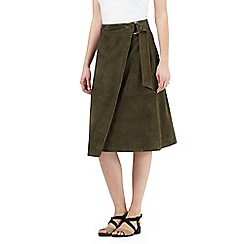 Preen/EDITION - Dark green suede wrap skirt
