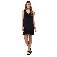 Giles/EDITION - Navy lace trim pleated dress