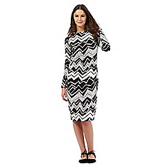 Preen/EDITION - Black zig zag print tube dress