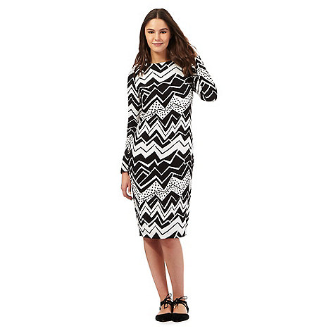 preen-edition - Black zig zag print tube dress