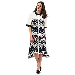 Preen/EDITION - Ivory zig zag print shirt dress