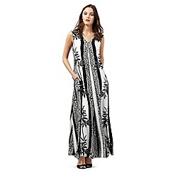 Preen/EDITION - Black and white palm print maxi dress