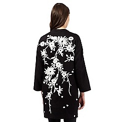 Preen/EDITION - Black floral embroidered kimono