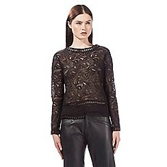 Todd Lynn/EDITION - Black long sleeved embroidered top