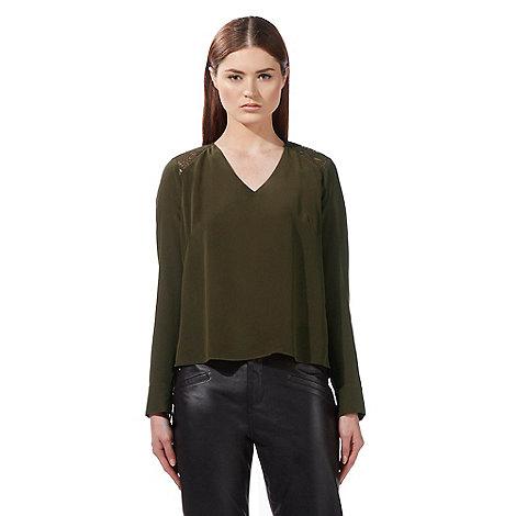 todd-lynn-edition - Khaki mesh insert silk top