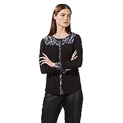 Todd Lynn/EDITION - Black long sleeved snake print yoke top