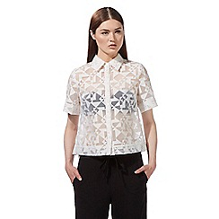 Preen/EDITION - White short sleeved burnout top