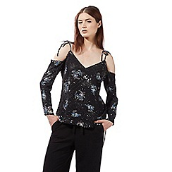 Preen/EDITION - Black cold shoulder floral splash print top
