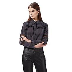 Preen/EDITION - Navy checked frill blouse