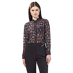 Preen/EDITION - Black floral print jacquard shirt