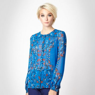 Blue oriental bird printed blouse
