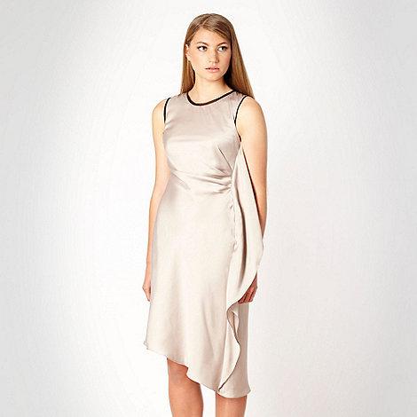 null - Designer beige ruffled side day dress