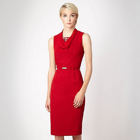 Marios Schwab/EDITION - Red jewel cowl neck cocktail dress - size 18