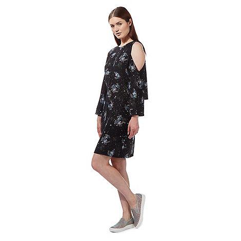 preen-edition - Black cold shoulder floral splash print dress