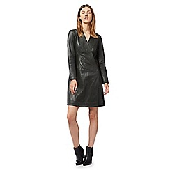 Todd Lynn/EDITION - Olive green leather wrap dress