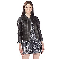 Preen/EDITION - Black leather frill jacket