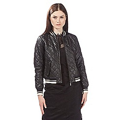 Preen/EDITION - Black leather quilted bomber jacket