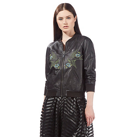 todd-lynn-edition - Black embroidered leather bomber jacket