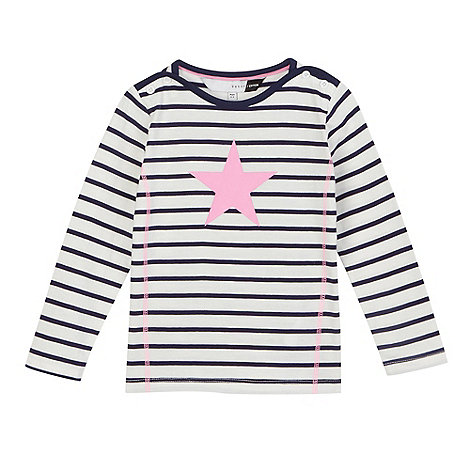 preen-edition - White and navy striped star print top