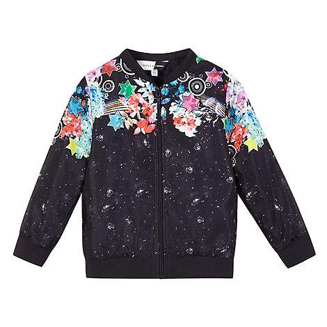 preen-edition - Girls+ navy galactic print bomber jacket