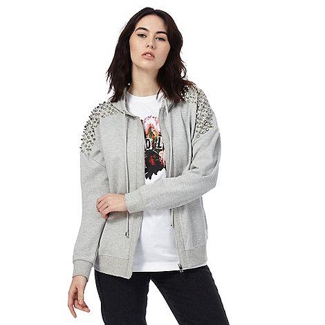 todd-lynn-edition - Grey studded zip through hoodie