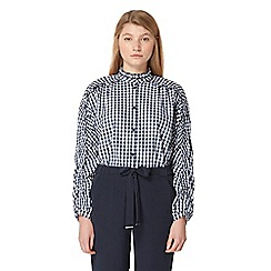Studio by Preen - Navy gingham print frilled shirt