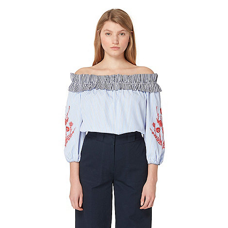 Studio by Preen - Blue striped embroidered Bardot top