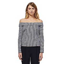 Studio by Preen - Navy gingham print bardot top