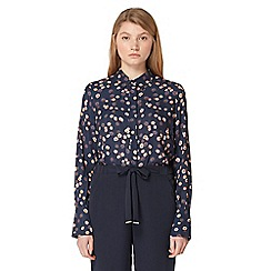 Studio by Preen - Navy daisy print frilled shirt