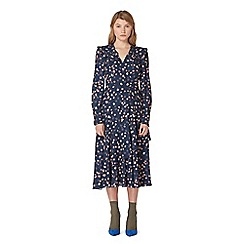 Studio by Preen - Navy daisy print v-neck long sleeve midi dress