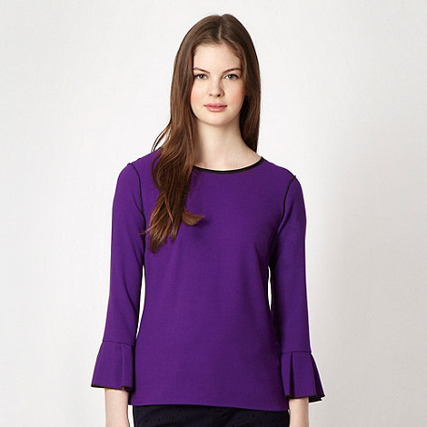 Roksanda Ilincic/EDITION - Purple crepe frill sleeve top