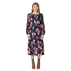 Studio by Preen - Navy floral print long sleeve midi skater dress