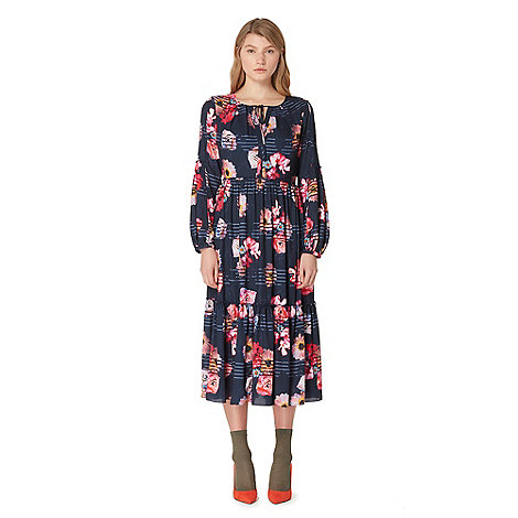 81ff0632e9b8 Studio by Preen Navy Floral Print Frill Midi Dress was £69 now £62.10