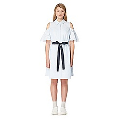Studio by Preen - Blue stripe print cold shoulder knee length shirt dress