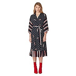 Studio by Preen - Navy striped print wrap dress