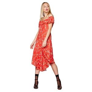 Studio by Preen Red floral Bardot neck midi shift dress