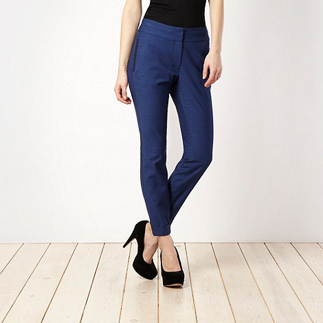 null - Navy jacquard dotted trousers