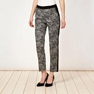 Designer black space dye trousers