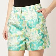 Designer light green jacquard fluorescent shorts