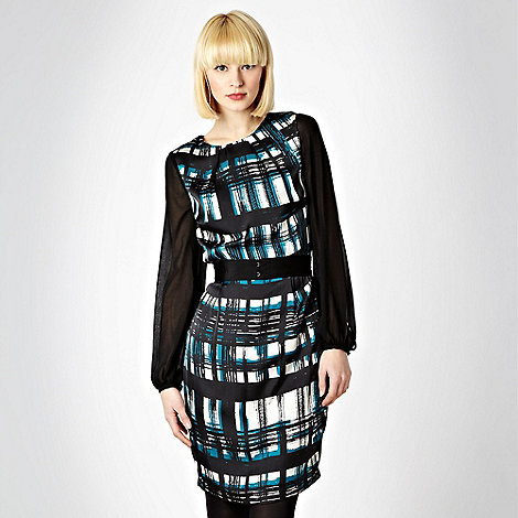 Roksanda Ilincic/EDITION - Black belted checked satin dress