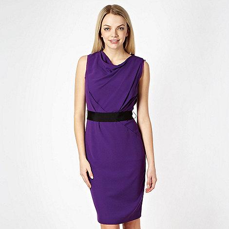 null - Designer purple asymmetric diagonal draped evening dress