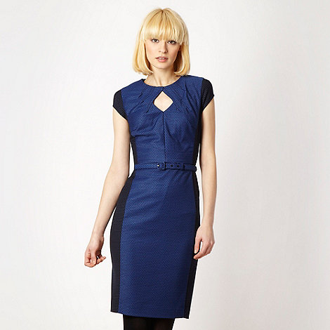 null - Designer navy jacquard dotted work dress