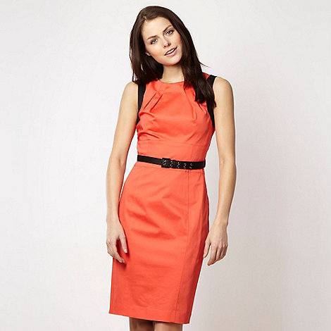 null - Designer orange belted shift dress